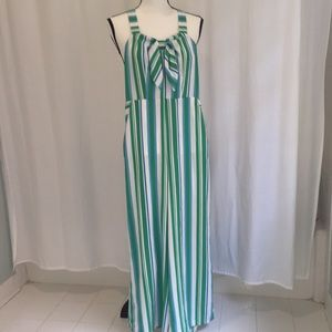 NWT A New Day Blue/Green Striped Jumpsuit